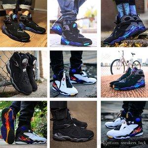 Nuove dimensioni 8 8s Uomini scarpe da basket San Valentino Aqua Bianco Nero Cromo Countdown Pack 3 torba VIII Mens allenatori sportivi Sneaker 7-13