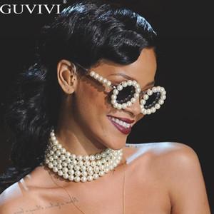 Lunettes de soleil rondes perle femmes petit cadre ovale Vintage Lunettes de soleil Marque Designer Hommes Retro Lunettes de soleil Rihanna Steam punk