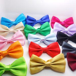 23 цветов Мужского Bow Tie Галстуки Боути Предварительно Связали Регулируемый Свадебный Выпускной Solid Colors Plain Silk JXW527