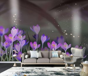 Photo Wallpaper 3D Hand painted beautiful purple flowers Murals Living Room TV Sofa Bedroom Home Decor Wall Papers Stickers