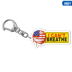 13style I can't Breathe KeyChain Letter Print Floyd Key Ring USA Fashion Acrylic Car Key Chain Pendant Jewelry Gifts GGA3449