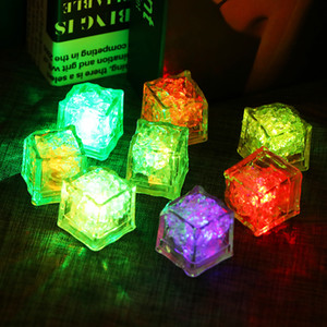 LED Ice Cube Multi Color Changing Flash Night Lights Liquid Sensor Water Submersible For Christmas Wedding Party Decoration Dropshipping
