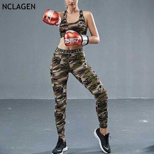 Hızlı Kurutma Yoga Kalça Tayt Sıkı Tankı İki Adet Set Running NCLAGEN Yaz Spor Suit Kadınlar Kamuflaj Gym Spor Egzersiz