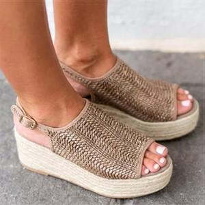 6CM High Heels Women Wedges Sandals Plus Size 43 Hemp Summer Female Platform Sandals Retro Size 35-43 Women Flat Sandals