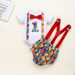 Infant Baby Clothes Sets 2020 Hot Sale Newborn Baby Boy Short Sleeve Bow Tie New Toddler One-year-old Birthday belt Kids pants
