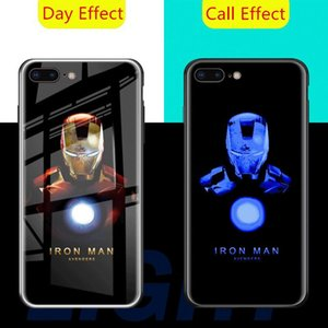 Chamada Luz LED Flash Phone Cases para iPhone XS Caso XR para iphone 11 pro Max Marvel Avengers Spiderman Venom Tampa de vidro temperado