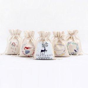 Sacs de Noël cadeaux sac fourre-tout à cordonnet grande sucrerie de stockage Sacs Reindeers Imprimer Sacs Organisateur Père Noël Sac pochette pour Kid LXL642-1
