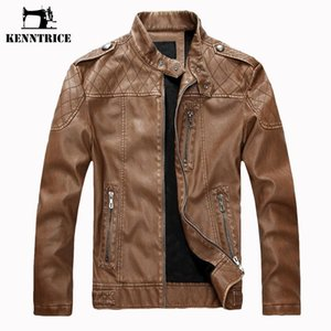 Kenntrice 2018 Short Faux Leather Coat Men Sheepskin Bomber Jacket Winter Warm Slim PU Motorcycle Jacket Suede Coat Casual
