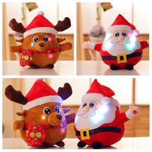 hot LED Glowing Santa Claus Plush Doll Light up Plush Toys Merry Christmas Decorations Supplies Kids PartywareT2I5535