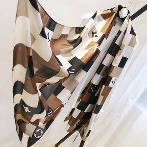 أزياء السيدات ذات جودة عالية فاخر مصمم الربيع ريال الحرير الحرير وشاح الخمار الإبحار الطباعة ساحة شال مع تسميات 180 * 90 سم 321852