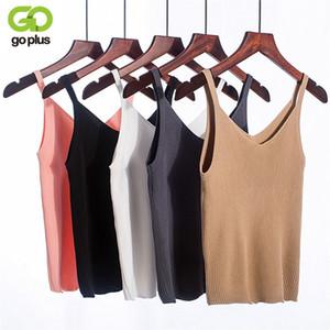 GOPLUS 2018 Sexy Summer Crop Top Débardeur en tricot femmes Chemisier col en V Femme T-shirt Gilet sans manches Casual streetwear camisoles