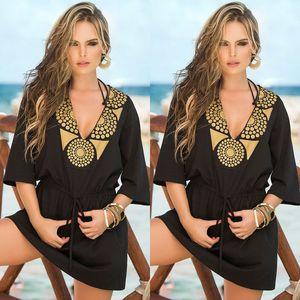 sexy Women printed beachwear cover ups Chiffon Bathing Suit Beach Dress Swimwear Swimsuit short Dress Cover Ups