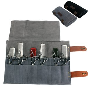 Hairdressing Leather Scissors Bag Salon Shears Combs Folding Roll Bag Cutting Thinning Scissor Case Pocket Hairdresser Tool 1279 LY191231