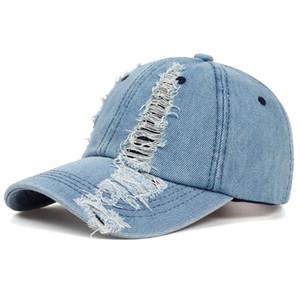 Printemps et Automnes Mode Porté Denim Cap été en plein air Loisirs Visor Hat Tendance Trou Casquettes Hip Hop Sport Chapeaux