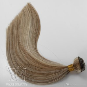 European Piano Light Brown platinum blonde Double Drawn 100g Remy Virgin Weft 18 inch Human Hair Extension