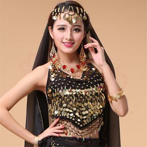 New Style Hot selling on Sale Cheap Coins Sexy Belly Dance Top Size Bra for Women Dancing Coat 11 Colors Available