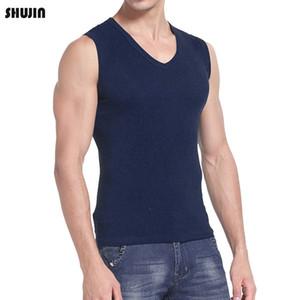 Canotta da uomo Shujin 2021 Slimming Light Compression Top shirt senza maniche Maschio Summer Solid Cotton V Collo Slim Fit Homme