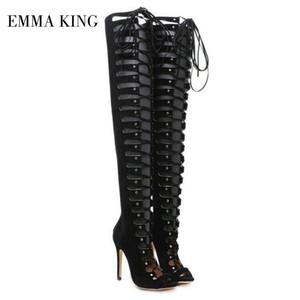 Womens Peep Toe ata arranca sandalias trasera de la cremallera ahueca hacia fuera los zapatos del gladiador Sexy Negro de alta del muslo botas de moda los zapatos de las mujeres
