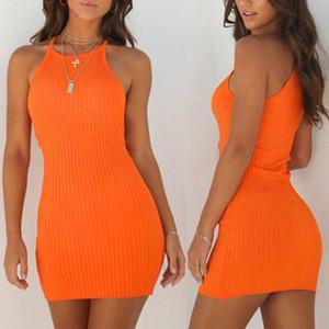 المرأة الجديدة السيدات مثير فساتين الصيف بلا أكمام تانك سليم البسيطة القصيرة محبوك الهيئة غير الرسمية فستان الشمس البرتقالي الأسود