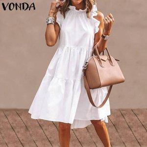 VONDA Sexy Dress Women Vintage Sleeveless Ruffled Mini Dress 2020 Summer Beach Holiday Sundress Bohemian Vestidos Plus Size Robe