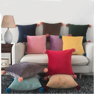 45 * 45cm Taie 10 Styles solides Coussin bonbons couleur Couvre oreiller nordique moderne Minimalisme Kaki Jaune Couverture T2I5316