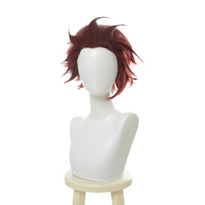 Demon Slayer: Kimetsu No Yaiba Kamado Tanjirou Cosplay Wig Vino corto Vino rojo