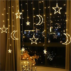 2,5M 138 LED-Mond-Sterne-Lichterweihnachtsfeiertag Vorhang Lichter Girlande für Hochzeit Fenster nach Hause Parteidekoration LED-String-Licht