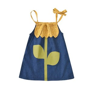 Newborn Infant Baby Girls Sunflower Print Summer Casual Sleeveless Dress Lace-up Clothes 0-3Y