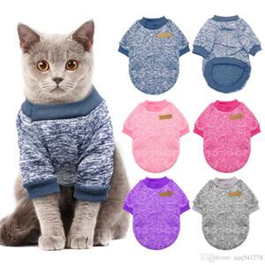 따뜻한 개 고양이 의류 가을 겨울 애완 동물 옷 작은 개 고양이를위한 스웨터 치와와 Pug Yorkies 새끼 고양이 의상 고양이 의상