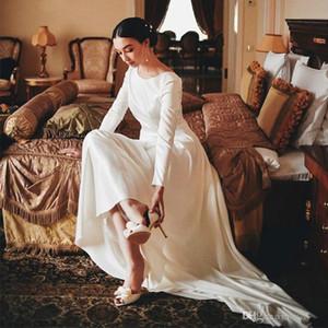 Vintage Design manches longues robes de mariée col rond Une ligne satin style simple 2020 récent Taille Robes de mariée plus vestidos de novia