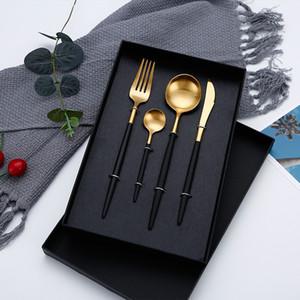 4Pcs set Black Cutlery Set Stainless Steel Dinnerware Set Golden Flatware Fork Knife Spoon Wedding Silverware Set