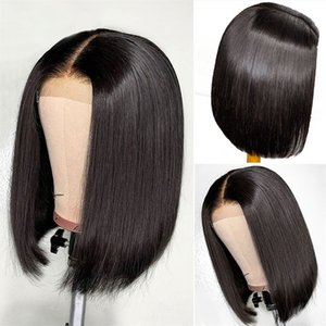 Nero parrucche breve rettilineo parrucca Bob Biondo vino rosso 13x4 parrucca sintetica per Black Natural Woman vino rosso 99J # 613
