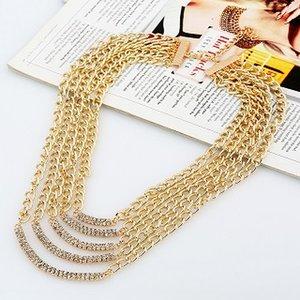 diseñador WholesaleLuxury exagerada de múltiples capas borla de la cadena collar suéter comunicado diamante del diamante artificial de metal dorado geométrica para la mujer