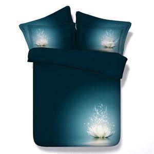 Libélula cubierta del Duvet acuarela Lotus de los floristas Tapa de Consolador Galaxy cama cubierta de Lotus Blooms 3 piezas Juego de cama con 2 almohadas Sham
