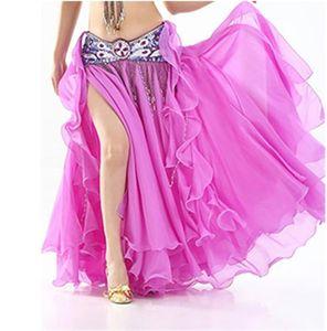2020 Mulheres Belly Dance Skirt Slit longa Maxi saias Belly Dance Roupa Sexy Oriental Professional Saias 13 cores
