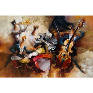 Pitture a olio su tela d'arte ritmo di jazz moderno dipinte a mano opere d'arte astratta per la decorazione camera da letto