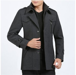 Designer Plus Size Mens Casacos Moda Sólidos Wool Zipper Mens Fly Blends Coats Jacket Inverno Casual