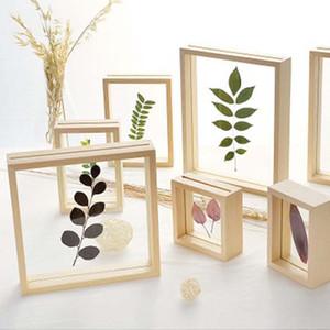 Nordic-Art Getrocknete Blumen Blätter DIY gepresstes Pflanzenbilderrahmen Double Side Glas Holzrahmen Ausgangsdekoration-Wand-Kunst 1PC