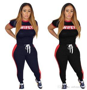 Stampa Wifey 2 pezzi donna slim set lettera di estate 2pcs pantaloni casual Abbigliamento Donna