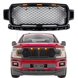Areyourshop New Black Grill Grile LED Honeycomb Raptor style pour F150 2018-2019 TT Grill Grile Car Acceesories Pièces