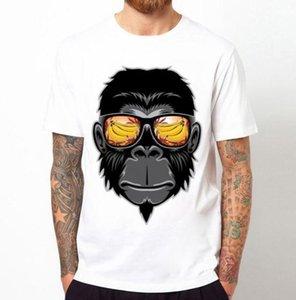 2019 Erkekler 'S Moda Serin Maymun Güneş Gözlüğü Ile Baskılı T-Shirt O Boyun Erkekler' S T Gömlek Kısa Kollu Yenilik Tasarım Tops Serin Tee C011