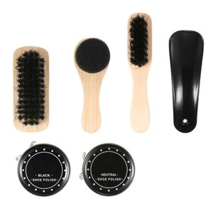 Hot Shine Polish Brushes Cylinder Box Kit Shoe Care Tool Shoe Brush Professional Wooden Brushes Set Home Cleaning Accessories 6