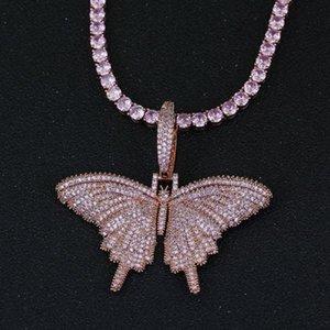 سحر فراشة المعلقات قلادة مجوهرات الهيب هوب ساطع الوردي الزركون بلينغ البلاتين مطلي الرجال النساء عاشق هدية