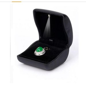 2020011030 PU Leather Jewelry Earrings,Coin,Pendant, Necklace Box Case with Light up for Wedding, Engagement, Gift