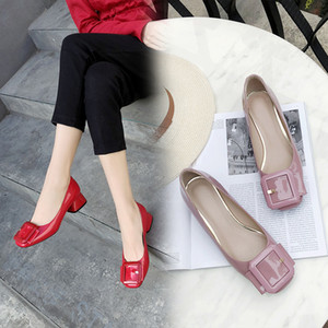 Ebullient2019 Woman Shoe Single Low With Joker Square Buckle Light Lipstick Color Scoop Sociology One Pedal Step In Will Shoes