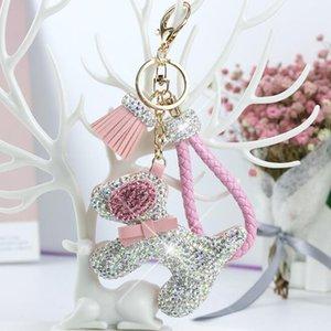 Luxo Diamonds High Grade Keychain completa Dog Chaveiro alta qualidade Chaveiros mulheres sacos bonitos Key fivela pendente Anel chave dos desenhos animados