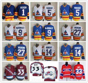 CCM Vintage Colorado Avalanche 33 Patrick Roy Jersey cosido Hockey 27 John Wensink 5 Rob Ramage 14 René Robert 9 Lanny McDonald jerseys