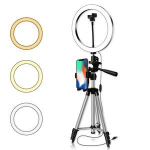 8/8/10 '' Dimmable LED LED Light Camera Soporte de trípode Kit con soporte telefónico para YouTube Video MakeUp Live Stream Stream Selfie Anillo Lámpara
