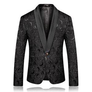 PYJTRL Erkek Moda Siyah Beyaz Jakarlı Gül Blazer Slim Fit Ceket