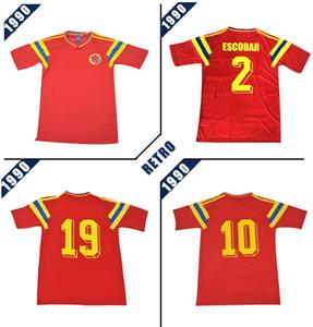 Colômbia 1990 camisa de futebol retro vermelho clássico comemorar antigo # 10 Valderrama # 9 Guerrero Vintage Collection camisa de futebol Camiseta